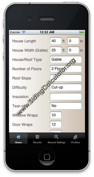 image of Siding calculator app iPhone - preview screen shot